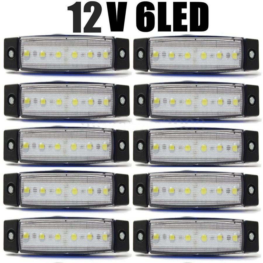 CYAN SOIL BAY 10Pcs White 6LED Bus Van Truck Trailer 6 LED Side Marker Indicators Lights Lamp 12V 24V cyan soil bay 10pcs 12v 24v 6led side marker indicators lights lamp for car truck trailer lorry 6 led amber clearence bus