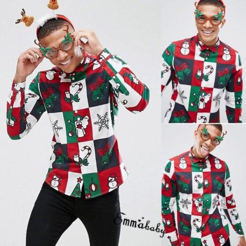 Hot Mens Christmas Shirt Casual Long Sleeve 3D Santa Snowman Tops Shirt Xmas Gift
