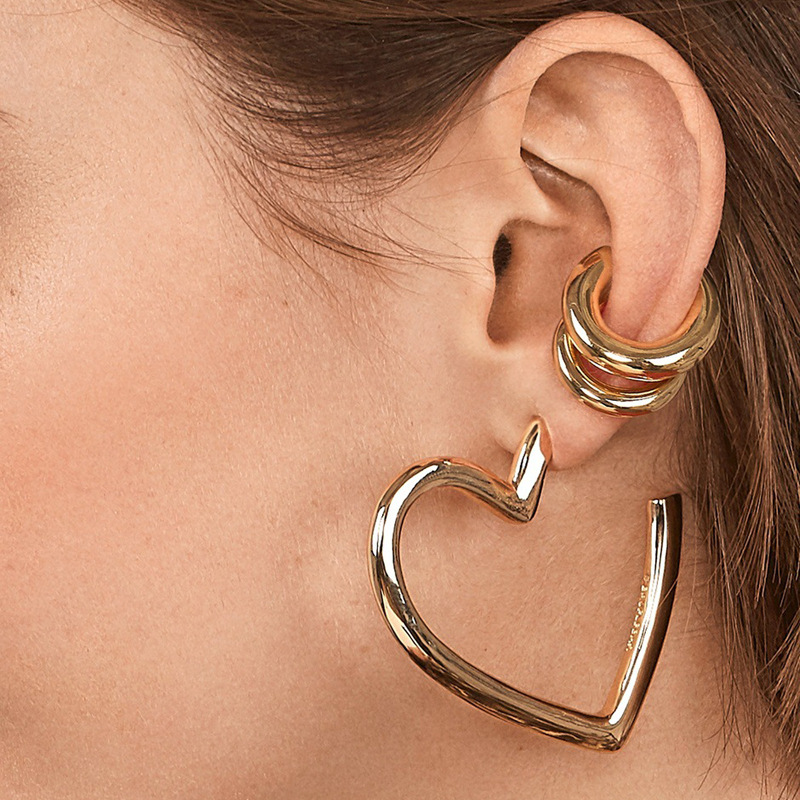 2pcs/set 2019 New Design Gold Color Small and Big clip earrings without piercing Women's All Match Round Ear Cuff Clip Earring