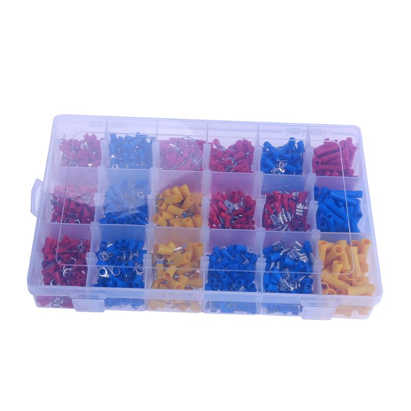 1200Pcs Assorted Insulated Spade Cable Connector Crimp Electrical Wire Terminal Set Kit Red Blue Yellow 800pcs cable bootlace copper ferrules kit set wire electrical crimp connector insulated cord pin end terminal hand repair kit