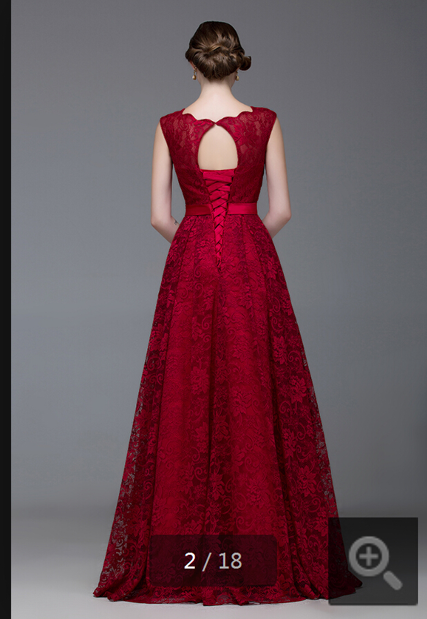 2015 mode rød tæppe scoop halsudskæring vinblonder aftenkjole - Særlige occasion kjoler - Foto 3