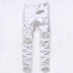 Image 3 - men trousers Man black red white jeans 2018 autumn men Casual Denim Pants Classic Cowboys Young hole zipper jeans Slim trousers