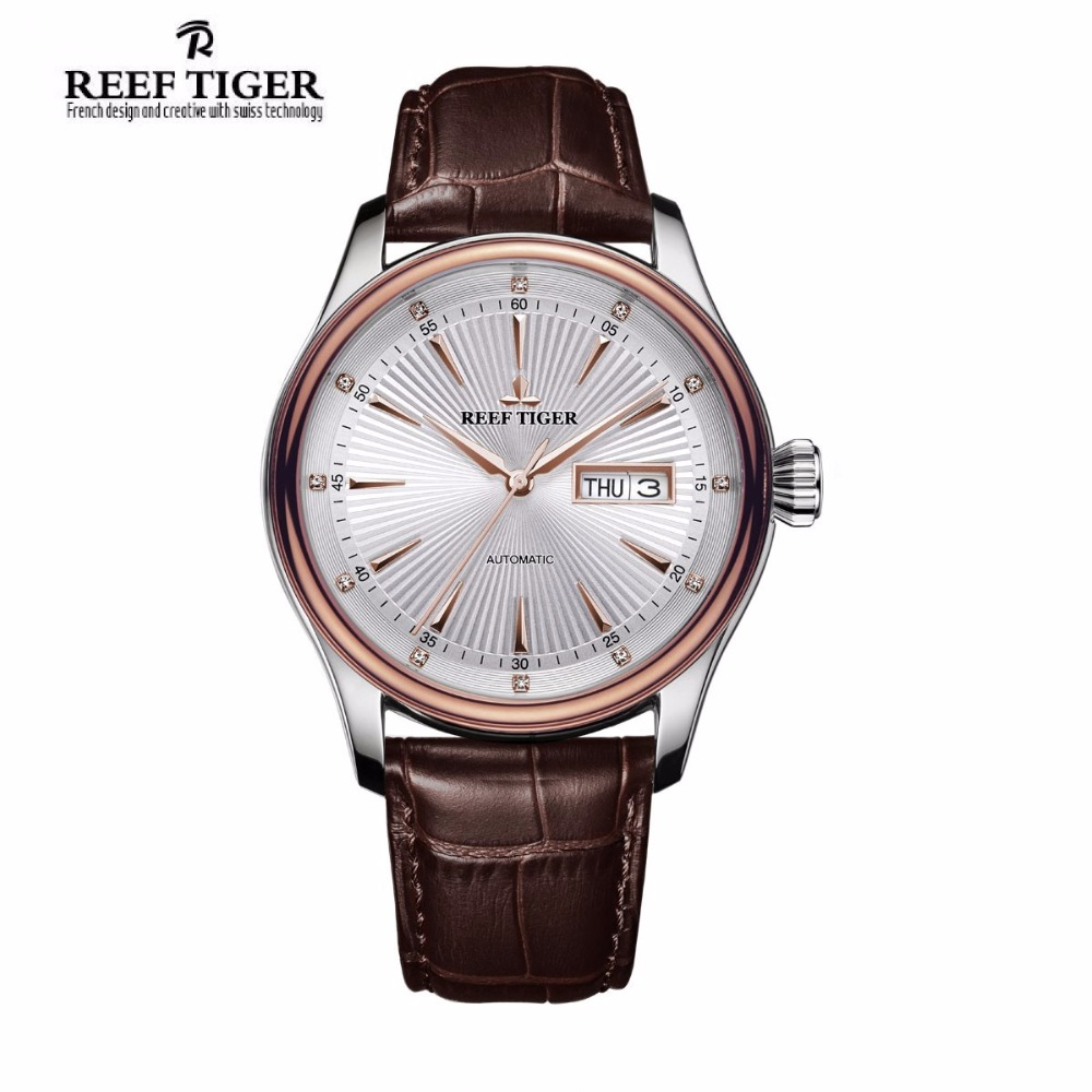 2017 Reef Tiger/RT Classic Business Mens Watches Rose Gold Steel Automatic Watch with Date Day RGA8232 reef tiger rt new design fashion business mens watches with four hands and date automatic watch rose gold steel watches rga165
