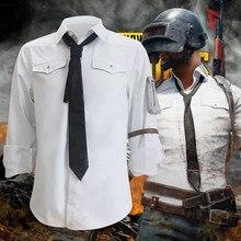 MMGG oyun PUBG Battlegrounds Cosplay kostümleri beyaz gömlek erkek kadın aynı stil giyim yüksek kaliteli tam boy