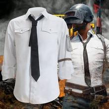 Mmgg jogo pubg battlegrounds cosplay trajes camisas brancas homem mulher mesmo estilo roupas de alta qualidade tamanho completo