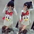 Vestidos de meninas Novas Dos Desenhos Animados Pato Lantejoulas Longo-sleeved Bebê Vestido Da Menina Princesa Moda Estilo Europeu Roupas Crianças das Crianças
