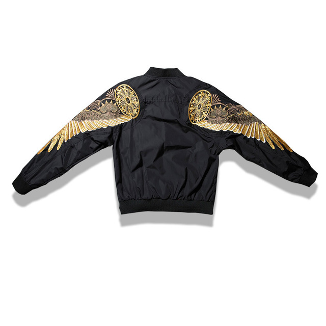 Top Quality Spring Bird Wings Embroidery Baseball Jacket Stand Collar Plus Size 3XL Bomber Coat Chaquetas Hombre DropShipping  4