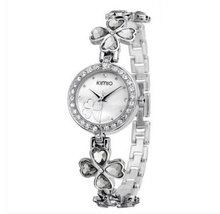Trend ladies watch female student table four-leaf clover rhinestone bracelet watch fashion girls watch