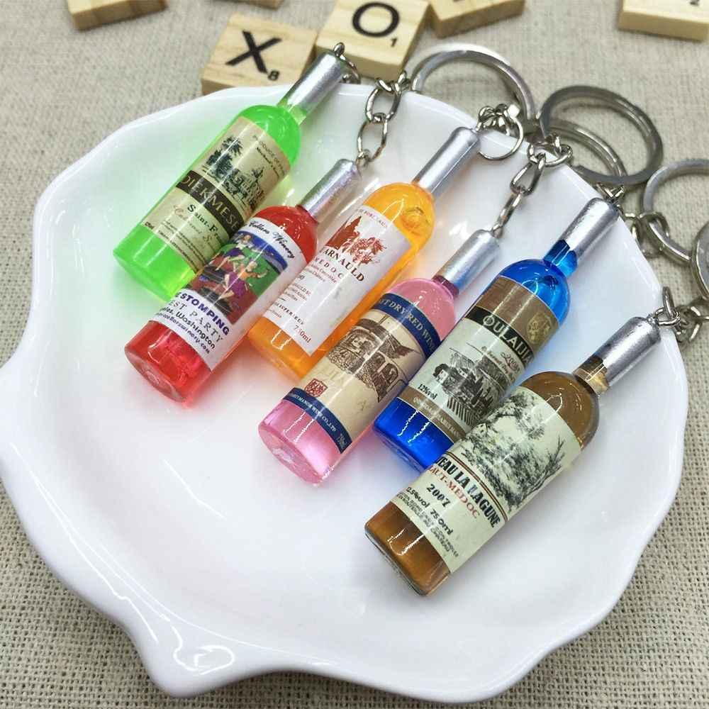 Женская/Мужская мода ручной работы смолы бутылки вина ключи цепочки Ключи Кольца Сплав Подвески Подарки, произвольный цвет