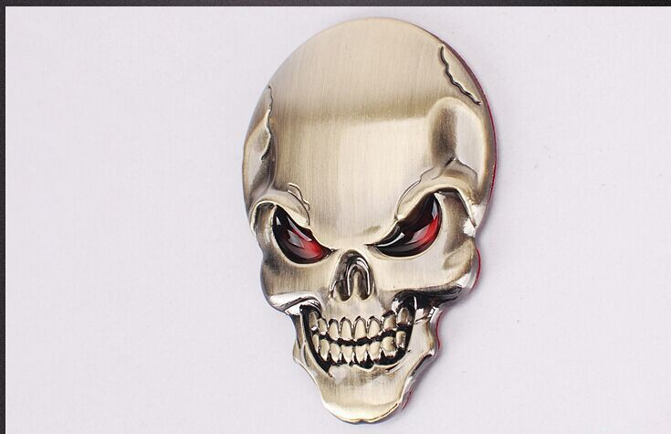 DSYCAR 3D Metal Skull Car Sticker Logo Emblem Badge Decals Car Styling for Fiat Bmw Ford Lada Audi opel volvo Honda Toyota Benz 14