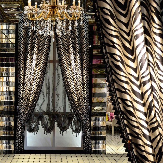 fashion black and grey striped zebra curve leopard window curtains for living room lush decor simple