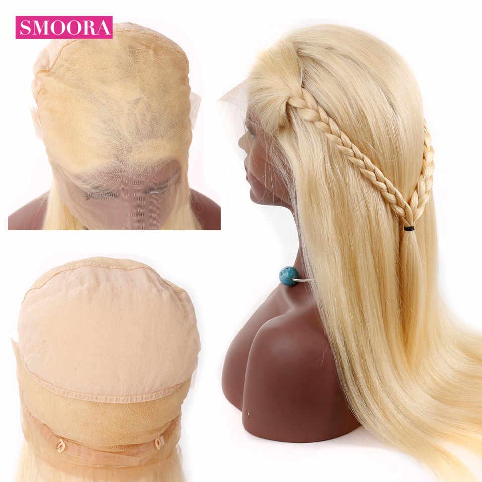Pelo de Smoora #613 Peluca de cabello humano de encaje completo rubio con pelo de bebé Pre desplumado cabello humano malayo no Remy pelucas ajuste bandas
