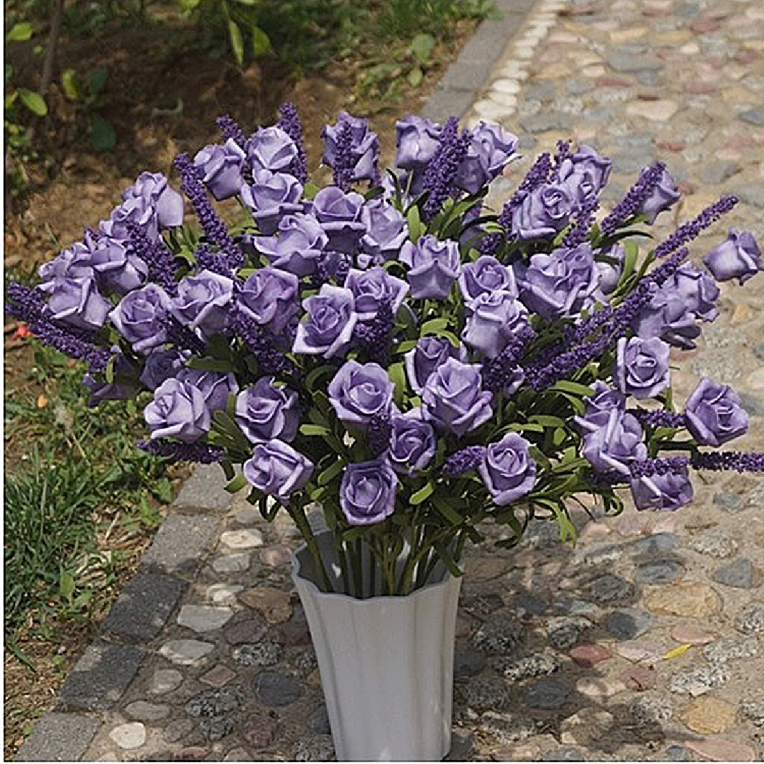 Retail wedding bridal 9 heads lavender rose artificial peony silk retail wedding bridal 9 heads lavender rose artificial peony silk flowers hydrangea party home decorition flower arrangement in artificial dried flowers dhlflorist Images