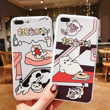 IMIDO New Cat TPU Soft Silicone Cases For iphone 6/7/8/X /Xs/ Xsmax/Xr Cute Simple Cartoon Anti-fall Fashion Phone