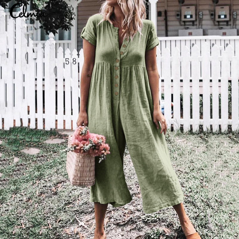 Summer Jumpsuits Celmia Women Vintage Rompers Casual Solid Buttons Playsuits Short Sleeve Loose Wide Leg Pants Plus Size Overall