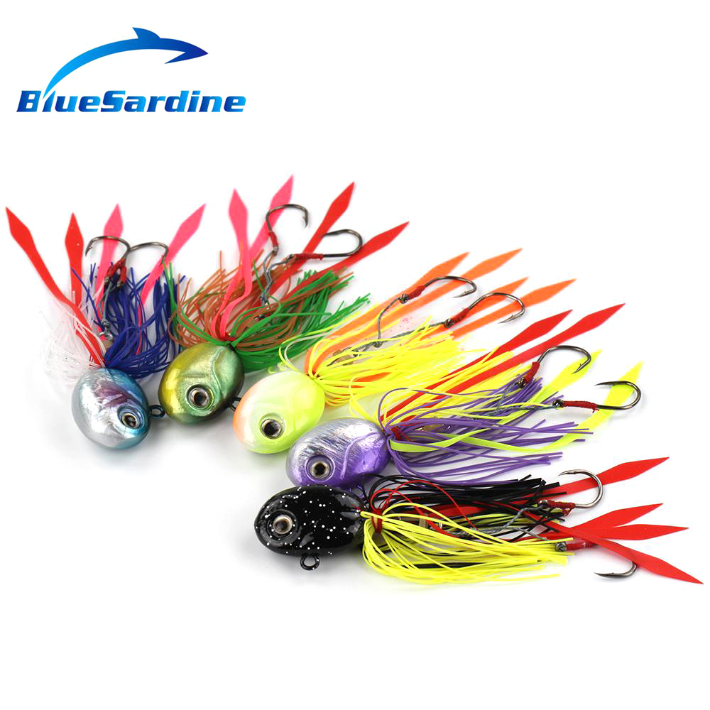 BlueSardine 5PCS 80G 12CM Metal Head Jig Fishing Lures Lead Octopus Squid Jigging Lures Fishing Tackle