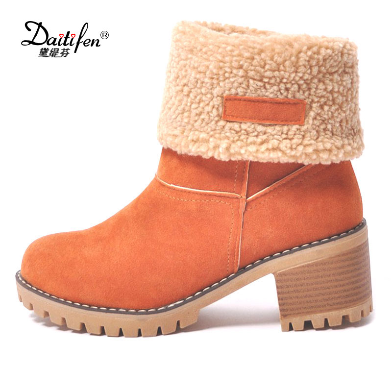 Daitifen 2018 new high quality cow suede leather boots women square heels autumn winter ankle boots solid color snow boots 35-43 the new high quality imported green cowboy training cow matador thrilling backdrop of competitive entrance papeles