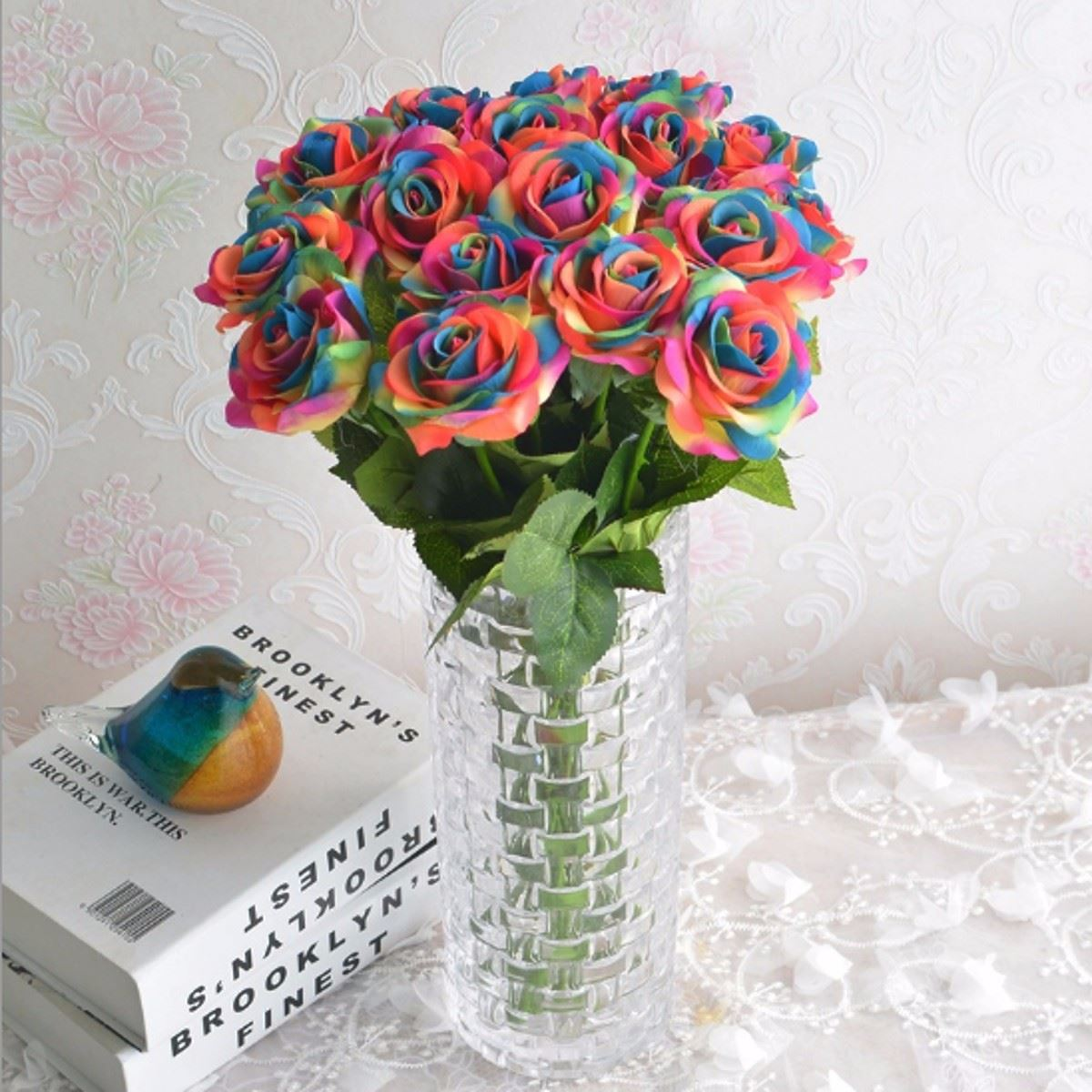 Rainbow Single Stem Rose Artificial Flower Wedding Party Bridal ...