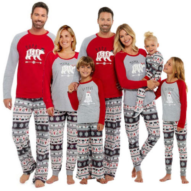Family Matching Christmas Pajamas Set Bear Print Top +Pant Sleepwear Nightwear Homewear Outfits
