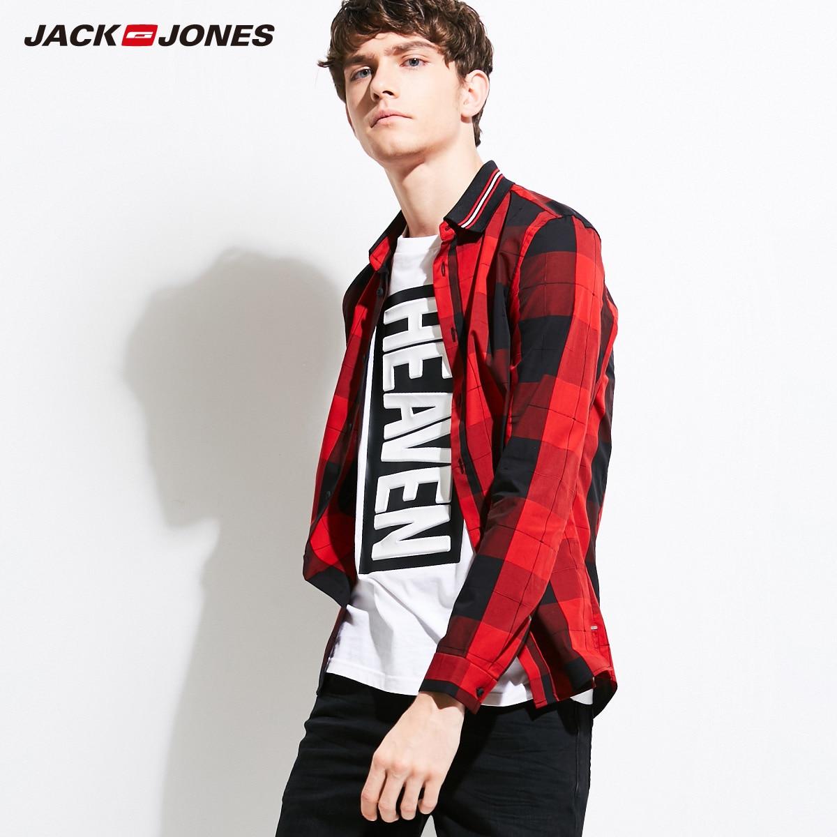 Jack And Jones Mens Gingham Shirt Red