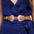 ArtSu Vintage Faux Leather Metal Clasp Women Belt Buckle Black Waistband New Girls Strap Accessories Double Belts ASAC20006