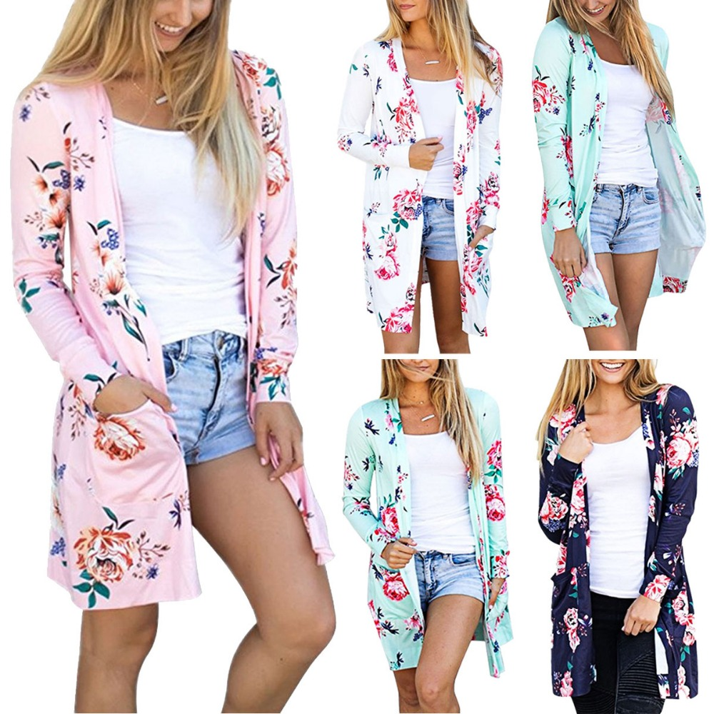 2018 New Design Casual Women Cardigans Spring Autumn Floral Print Open Stitch Long Sleeve Printed Kimono Cardigan