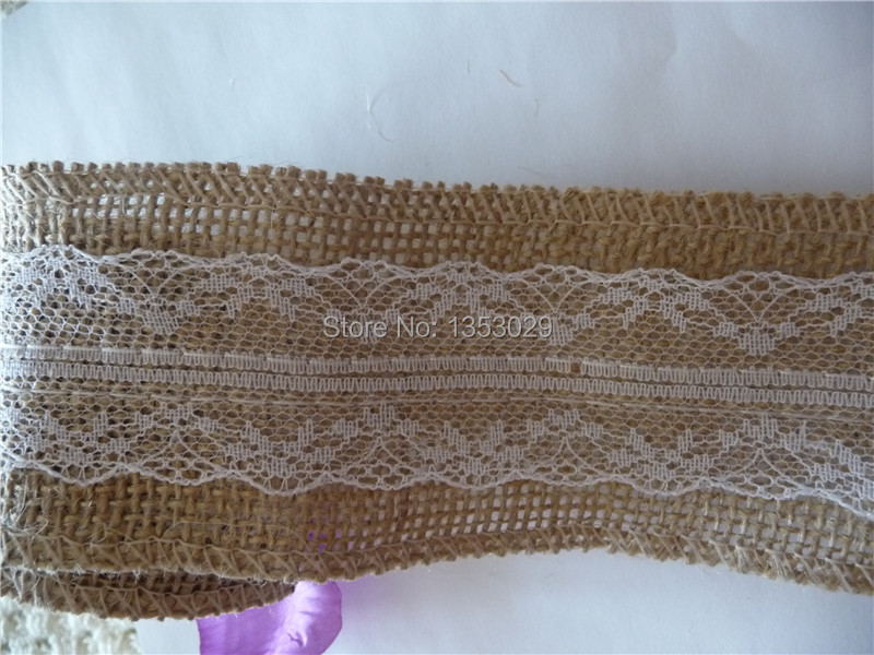 Free Shipping W5cm x 2m L 12rolls/lot White Lace Natural Burlap Ribbon Trim Rustic Wedding Jute Hessian Roll Ribbons