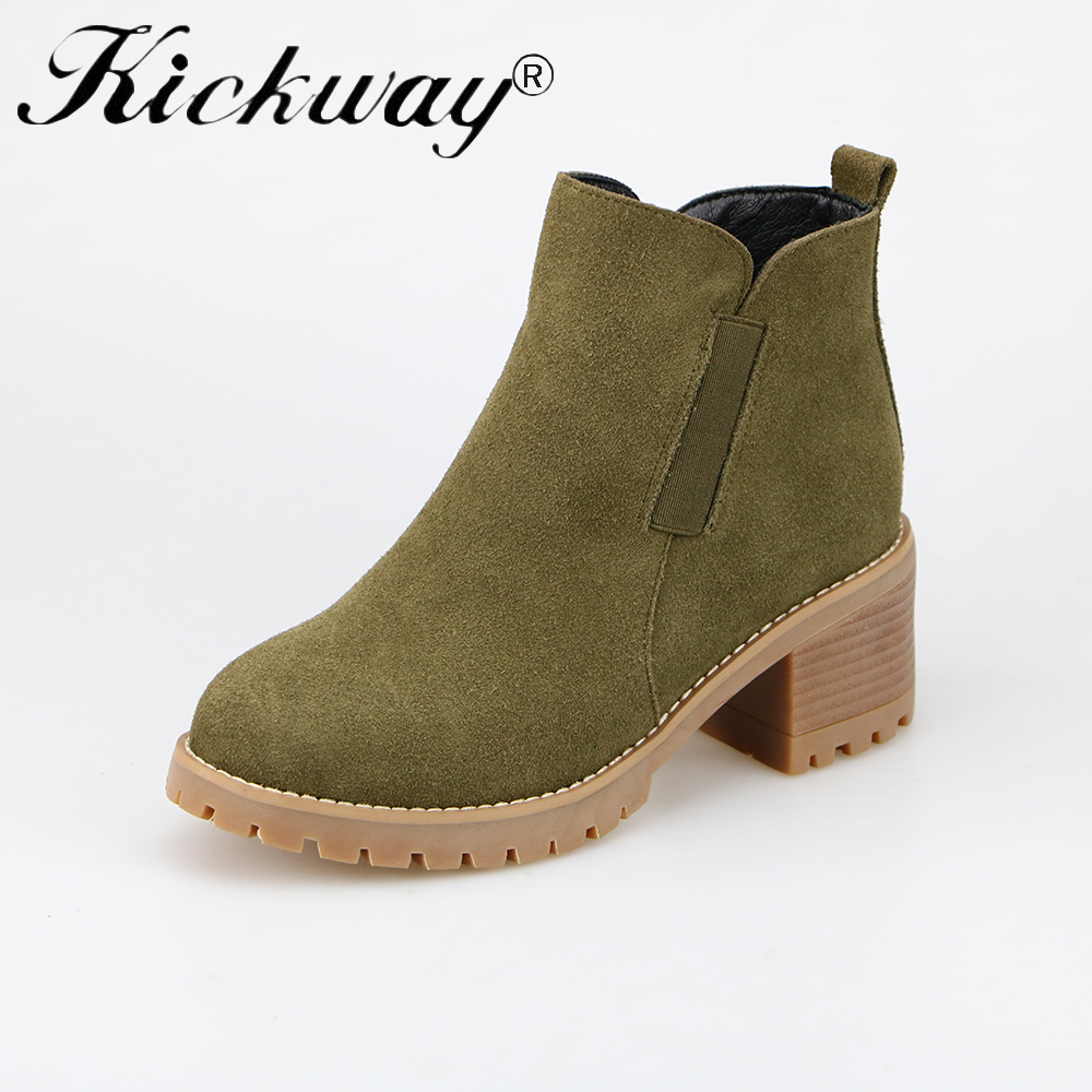 Kickway Woman Fashion Genuine Leather Motorcycle Ankle Boots Female slip on med Heels Platform Comfortable Spring Autumn Shoes yaerni woman fashion genuine leather motorcycle ankle boots female lace up low heels platform comfortable spring autumn shoes