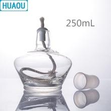 HUAOU 250 мл стеклянная спиртовая Лампа с пластиковой крышкой лабораторное химическое оборудование