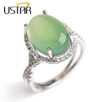 Natural Green Stone CZ Diamond Wedding Rings For Women Jewelry 925 Sterling Silver Rings Female Flower