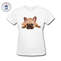 2017 Natural Cotton Girl S Cute Lazy French Bulldog Dog Funny Funny T Shirt Women