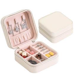 Портативный шкатулка на молнии кожаный Органайзер для хранения ювелирных изделий держатель для ювелирных изделий упаковка для показа