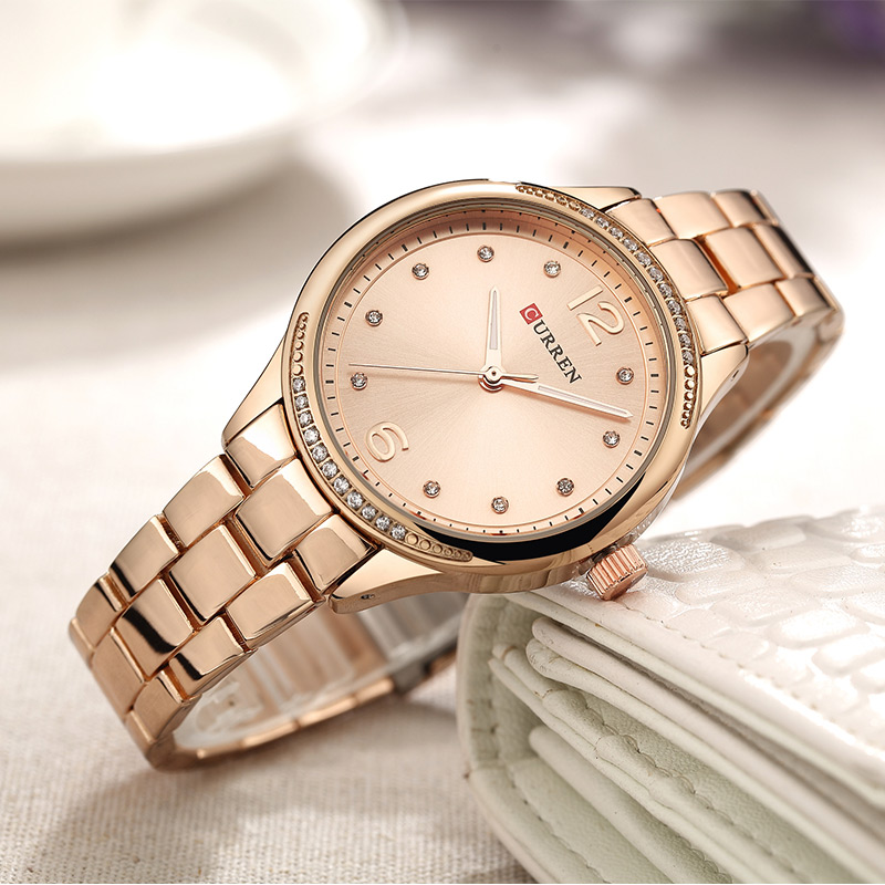 CURREN Watch Women Casual Fashion Quartz Wristwatch Crystal Design Ladies Gift Brand Dress Clock Wrist Watches Relogio Feminino