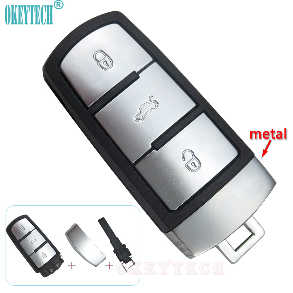 OkeyTech 3 Buttons Smart Card Cover Case With Small Key Blade Car Key Shell for vw key R ...