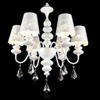 110V 220V 6 Lights White LED Modern Crystal Chandelier Lamps Lustres De Sala Lustre De Cristal