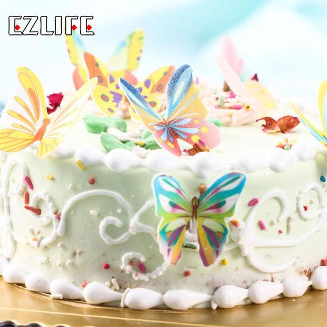 20pcs Set Butterfly Mixed Edible Cake Topper Wafer Cake Decorated