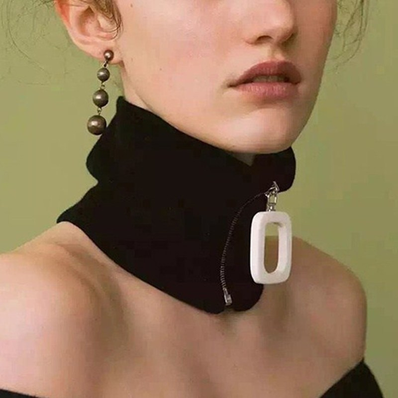 Novelty Fashion Knitted Zip Detachable Collar For Women, Spring Autumn Cotton Zipper Black Collar Snood Neckerchief Collars(China)