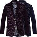 2016 Весна и Осень Англии стиль вельвет высокого класса blazer Пледы pattern печати бизнес вскользь качество blazer мужчин M-XXXL