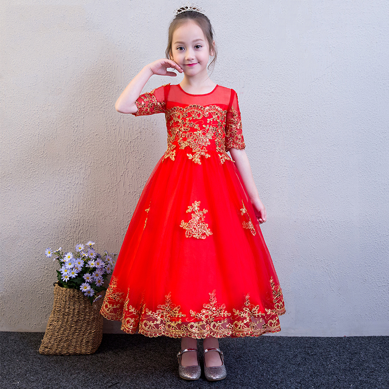 Embroidery Red Flower Girl Dresses for Wedding Evening Gowns Half Sleeve Ball Gown Kids Pageant Dress Birthday Princess Dress