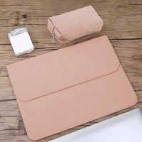 Matte PU cuir manches sac étanche pour ordinateur portable 14 15.6 pour Macbook Xiaomi Air 13 Case 11 12 nouveau 2018 pro 15 couverture femmes hommes sacs