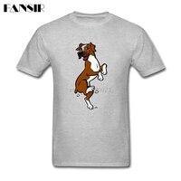 Funny Boxer Cartoon Dog T Shirt Men Male Fashion Custom Cotton Short Sleeve 3XL Team Brand