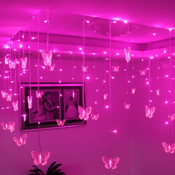 YIYANG 2x1.6m Butterfly LED String Lights 34 Hearts Christmas Lights ...