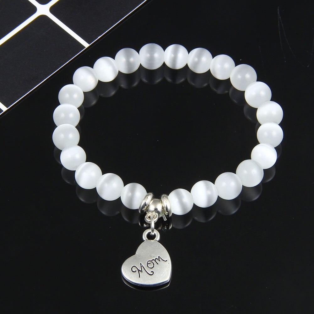 I Love You Mom Bead Bracelet Women 2019 New Jewelry for Mum Natural Stone Charm Bracelet Mother's Day Gift Family Bless Bracelet 25