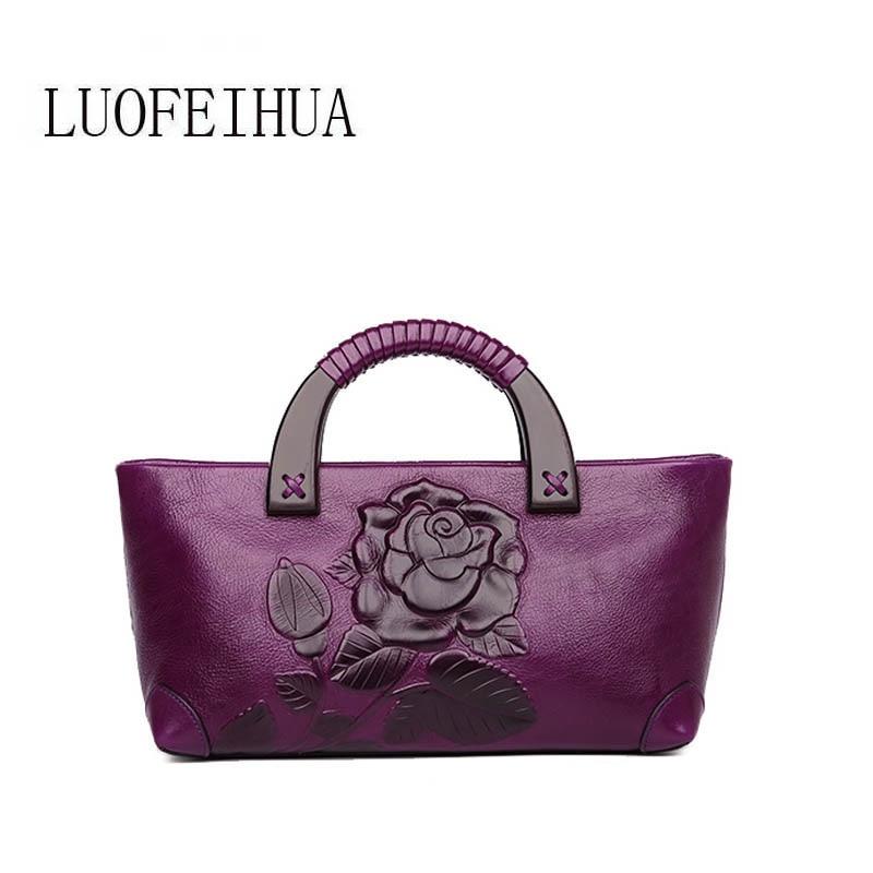 Frauen Leder Mode Tasche Hand red 2019 brown Weibliche Wine Branded Luofeihua Ethnische black Geprägte Handtasche Neue Purple Stil ZfvYz0wIq