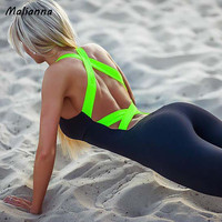 Sexy Full Bandage Sporting Bodysuit Backless Fitness Jumpsuit Women Body Sportswear Jumpsuit Tracksuit Overalls Women Femme