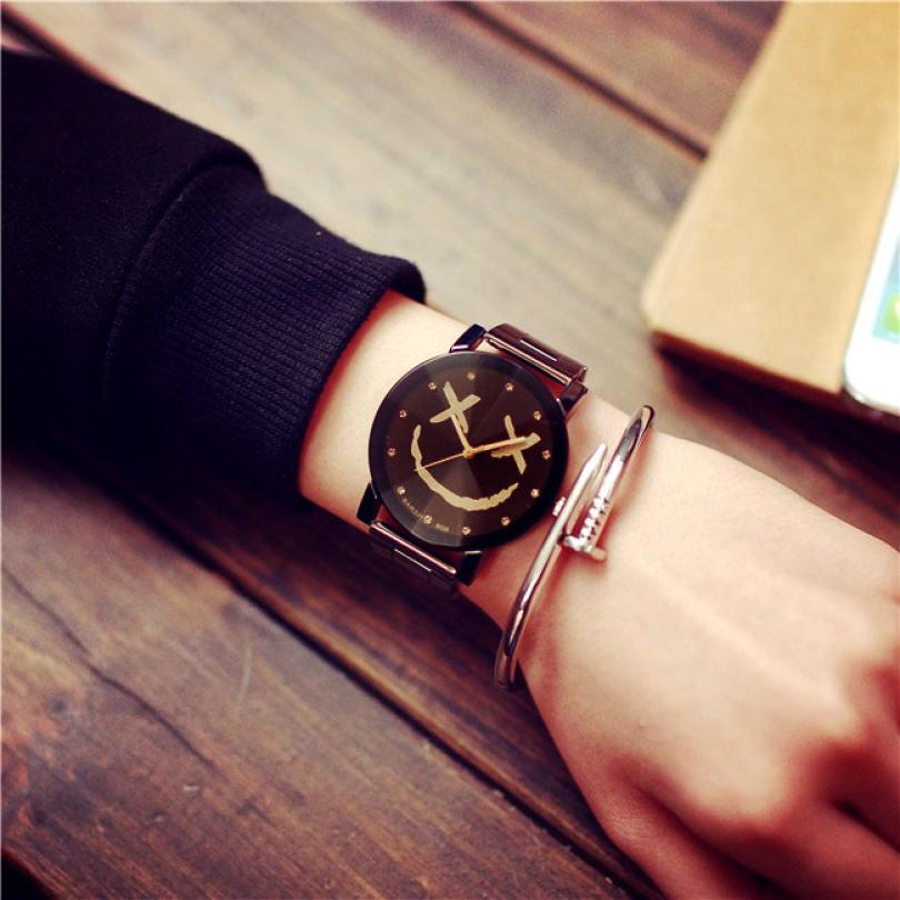 e5f790291ad Aliexpress.com   Buy Montre Lovers Couple Watch Women Clock Fashion Smiling  Face Stainless Steel Quartz Watches Men Dress Hours Date Gift Reloj Mujer  from ...