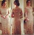 Elegante Champagne Tulle A Linha Três Quartos Mangas Vestidos de Noite 2016 de Renda Pérolas Appliqued Mãe dos Vestidos de Noiva