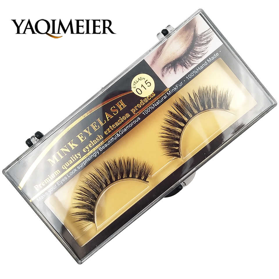 135f1222288 YAQIMEIER New Natural Eyelashes 100% Mink Private Label Eyelashes Cheap  Makeup Wispy / Volume Lashes