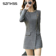 SZMXSS Autumn Winter Women's Long Woolen Blend Coat Slim Wool Coat Black Grey Coat Cashmere Outwear O-Neck