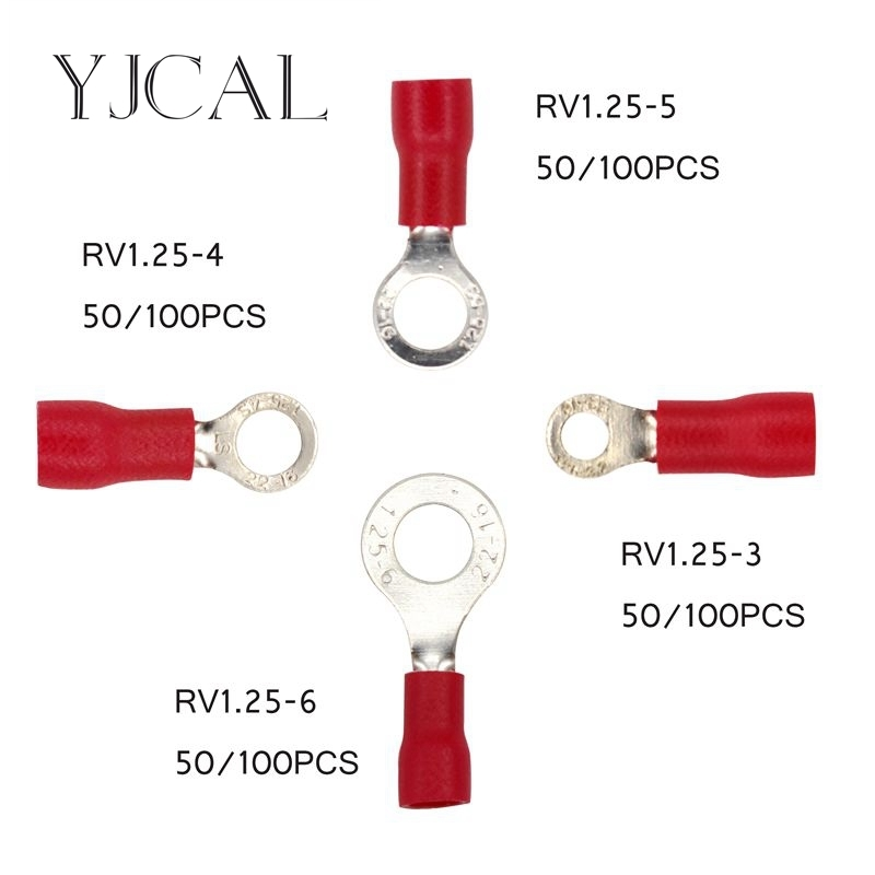 Crimp Terminal RV1.25 -3 -4 -5 -6 Combination 50PCS 100PCS Red Cable Wire Connector Ring Insulated Terminal Block A.W.G 22-16